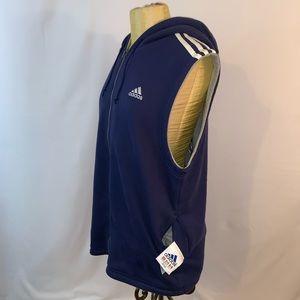 Adidas Blue Cotton Hoodie Pullover Vest